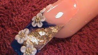 getlinkyoutube.com-Acrylic Nails - 3d mini flowers