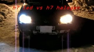 getlinkyoutube.com-test h7 led 12 watt vs h7 halogen 55 watt at night.mp4