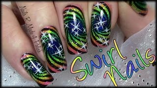 getlinkyoutube.com-Regenbogen Swirl stamping Nageldesign / Rainbow Nails New Years Eve / Silvester Nägel