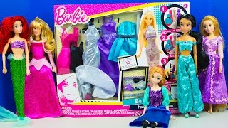 getlinkyoutube.com-Barbie Doll Fashion Designer Disney Princess Dressup Party Frozen Ariel Aurora Jasmine Anna Rapunzel