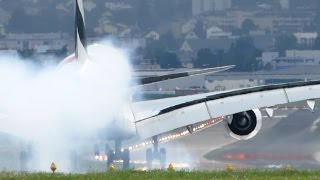 getlinkyoutube.com-very hard landing A380 Emirates at Zurich | LSZH 'n amazing take off
