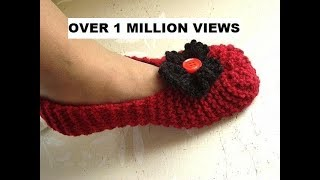 getlinkyoutube.com-Knitted slippers for beginners, free knitting video for unisex slippers for men or women.