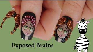 getlinkyoutube.com-3D Exposed Brains Acrylic Nail Art Design Tutorial   Halloween