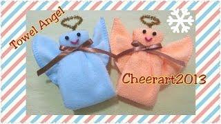getlinkyoutube.com-Diy fun craft : Towel fold tutorial - towel angel 毛巾手工教學 : 毛巾天使