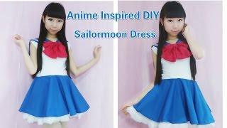 getlinkyoutube.com-Anime inspired kawaii DIY - How to make sailormoon usagi dress/costume + sailor collar(easy)
