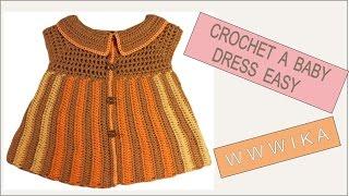 getlinkyoutube.com-How to crochet baby dress easy Free pattern tutorial