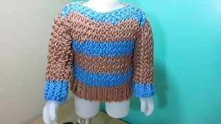 getlinkyoutube.com-Loom knit baby sweater from leftover yarn for beginners