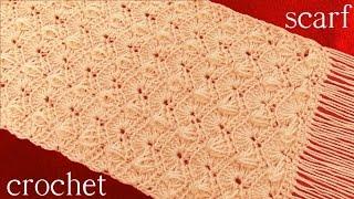 getlinkyoutube.com-Bufanda o chalina tejida en punto abanicos entrecruzados a Crochet o Ganchillo