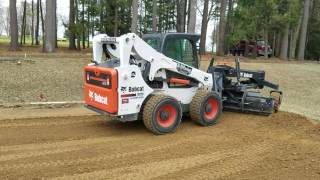 getlinkyoutube.com-R&D paving grading with Bobcat A770 and grader attachment