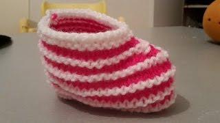 getlinkyoutube.com-Tricot, chaussons bébés super faciles