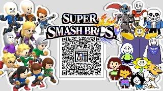 getlinkyoutube.com-Sans, Papyrus, Frisk,  Flowey, and MORE! - Mii Fighter QR Codes for Smash Bros