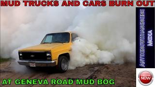 getlinkyoutube.com-MUD TRUCKS AND CARS BURN OUT AT GENEVA ROAD MUD BOG 7-19-14