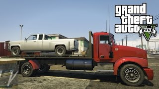getlinkyoutube.com-GTA V Next Gen PS4 - Trying to Transport a Pickup Truck on the Flatbed Truck