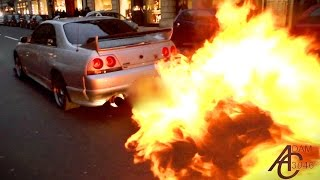 getlinkyoutube.com-Nissan Skyline - HUGE FLAMES + Police let him off!