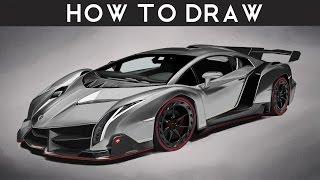 HOW TO DRAW a Lamborghini Veneno - Step by Step   Realistic   drawingpat