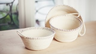 getlinkyoutube.com-DIY Rope Baskets // DIY Paniers à corde
