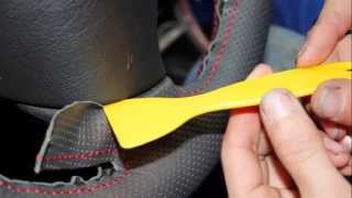 getlinkyoutube.com-Peugeot 307 Genuine Leather Steering Wheel Cover Install