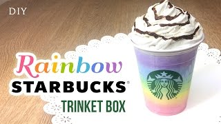 getlinkyoutube.com-DIY Starbucks Room Decor - RAINBOW Frappuccino Trinket Box!