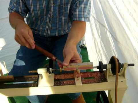 Turning Pens on antique wood lathe from Recycled Antlers, Roots, Corn Cobs & More