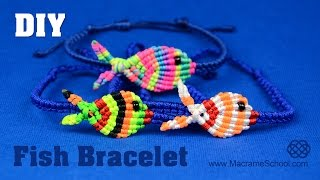 getlinkyoutube.com-Colorful Fish Bracelet Tutorial | Macrame School