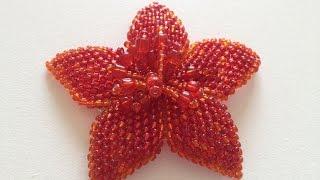 getlinkyoutube.com-Цветок для резиночки или брошь. Beaded brooch. Часть 1/2