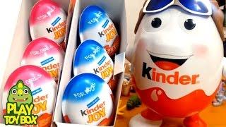 getlinkyoutube.com-Kinder Joy chocolate Surprise Eggs Kinder Mascot Doll 6 Toy Unboxing  Review