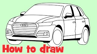 getlinkyoutube.com-How to draw a car Audi Q5 2017 step by step