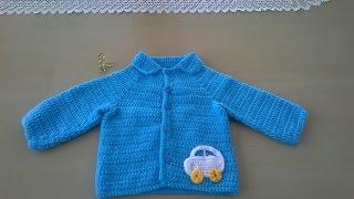 getlinkyoutube.com-Chaquetita para niño: Como hacer una chaqueta para bebé en crochet o ganchillo