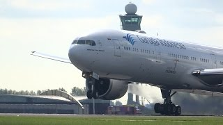 getlinkyoutube.com-2x AWESOME Early Take off! B747F CargoLux & B777W Garuda Indonesia