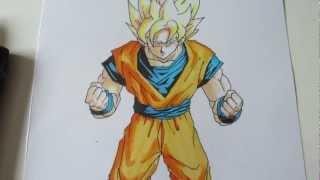 getlinkyoutube.com-How to draw Goku super saiyan 1 SSJ1 孫 悟空 超サイヤ人 1