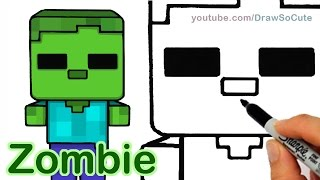 getlinkyoutube.com-How to Draw Minecraft Zombie Cute and Easy step by step