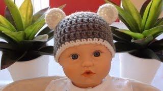 getlinkyoutube.com-Crochet Baby Beanie with Ears - Crochet Bear Ears