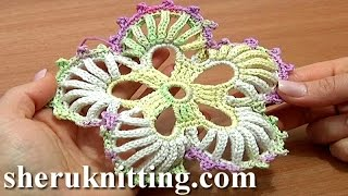 getlinkyoutube.com-Crochet 5-Petal Flower Big Round Petals Tutorial 53 Hæklet blomst