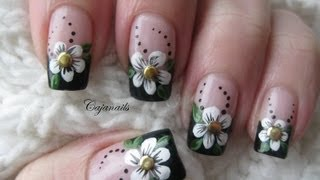 getlinkyoutube.com-Nail art: Black french manicure with flower and studs