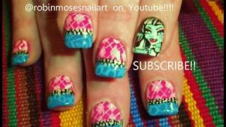 getlinkyoutube.com-Monster High Nail Art - Frankie Stein