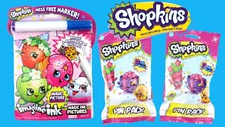getlinkyoutube.com-Coloring with Shopkins Imagine Ink Book and Opening Shopkins Pin Packs