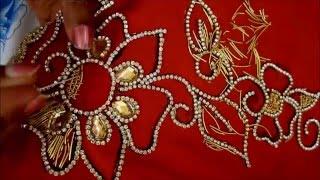 getlinkyoutube.com-Zardosi work - leaf filling - A requested video
