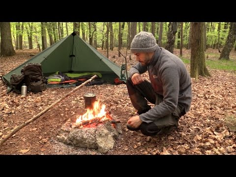 Solo Overnight Camping - Tipi Tarp Shelter, Campfire, Grill Cooking, Knife work
