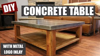 getlinkyoutube.com-How To Make a Concrete Coffee Table and How to Embed a Metal Design in Concrete
