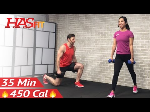 35 Min Tabata HIIT Workout for Fat Loss, Strength, Abs: Home Full Body Dumbbell Workout with Weights