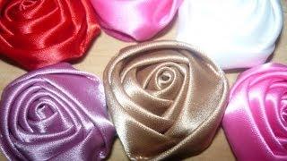 getlinkyoutube.com-flores kanzashi en cinta para el cabello paso a paso, #055 Manualidadeslahormiga