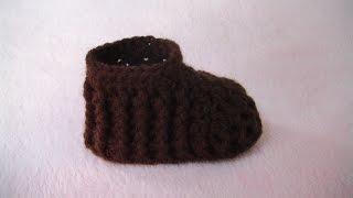 getlinkyoutube.com-Πλεκτο Μποτακι με την Πλεξη Ριπ για Ποδαρακια / Crochet Baby Bootie Tutorial