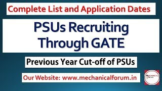 PSU Recruitment Through GATE 2018 | Important Dates | PSU cutoff Through GATE 2017 | PSU Jobs