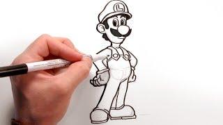 getlinkyoutube.com-Let's draw Luigi