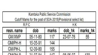 SDA cut off marks 2017 ,  2015 , 2011 , KPSC FDA SDA.