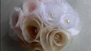 getlinkyoutube.com-Как легко сделать спиральные розы. Цветы из ткани