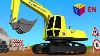 getlinkyoutube.com-Trucks for children kids. Construction game: Crawler excavator