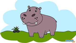 getlinkyoutube.com-How to Draw a Hippo (Step by Step Guide) | Mocomi Kids