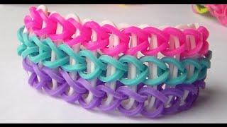 getlinkyoutube.com-como hacer pulsera  rainbow loom bands de tres carreras