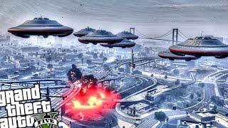getlinkyoutube.com-GTA 5 PC - UFO Invasion Attack (Crazy UFO Alien Attack!!) Grand Theft Auto 5 PC UFO Gameplay